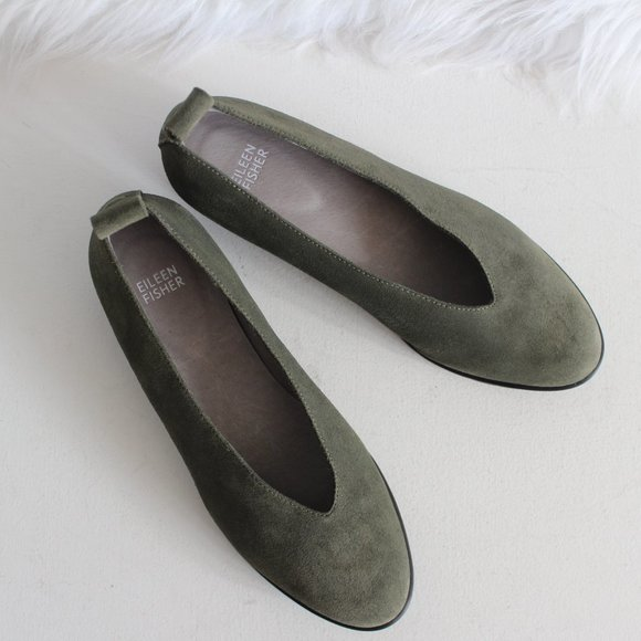 New Eileen Fisher Olive Green Suede Humor Flat